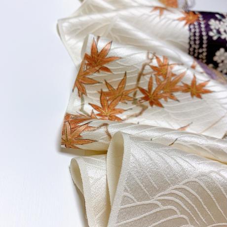 流水に枝桜・楓・扇散らしに波地紋【ギャザーラップスカート】