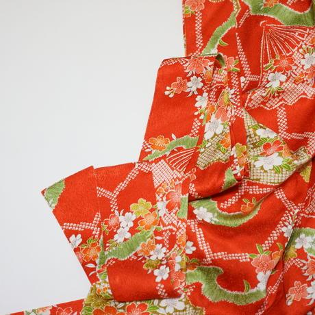 扇面に梅模様【ギャザーラップスカート】