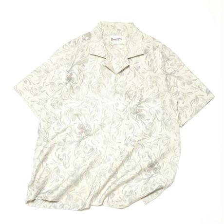草花模様織出し手織り紬【L】