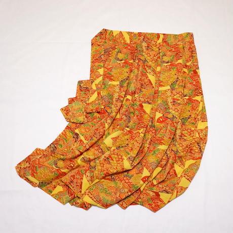 桧扇に草花模様【タックラップスカート】