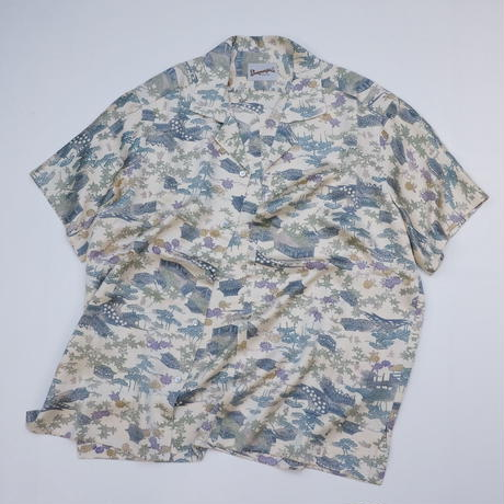 町家草花風景模様【L】【ケニシャツ】