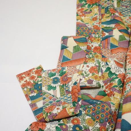 色紙に花鳥古典模様【ギャザーラップスカート】
