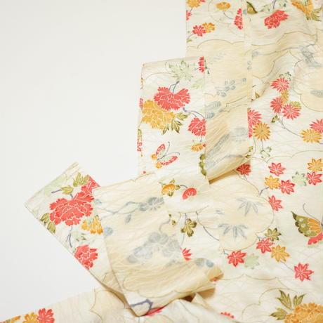 雲に蝶牡丹模様【ギャザーラップスカート】