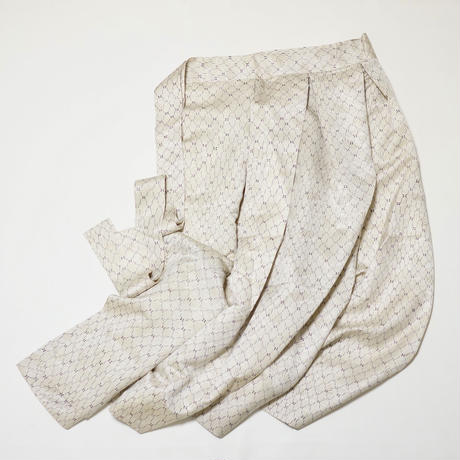 銀金糸通し総扇地紋に網目小花模様【タックラップスカート】