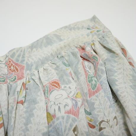 縮緬地扇に辻ヶ花模様【ギャザーラップスカート】