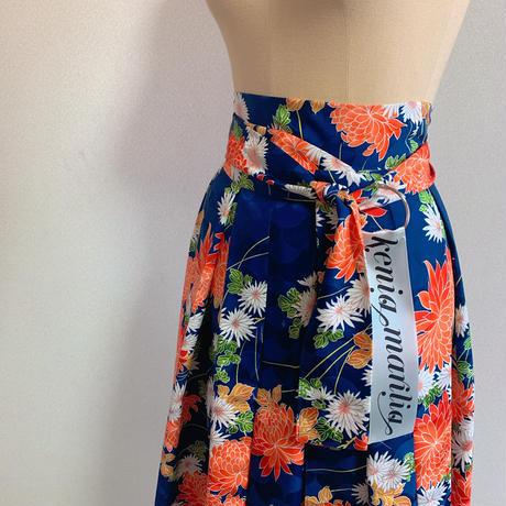 菊模様小紋巻きスカート