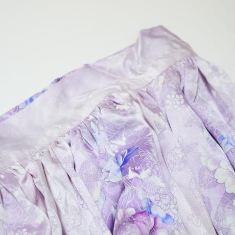 草花模様花蝶地紋【ギャザーラップスカート】