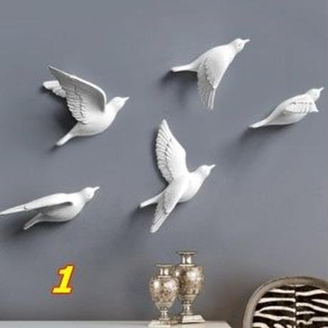 壁掛けオブジェ 飛ぶ小鳥 モダン 樹脂製 5個セット