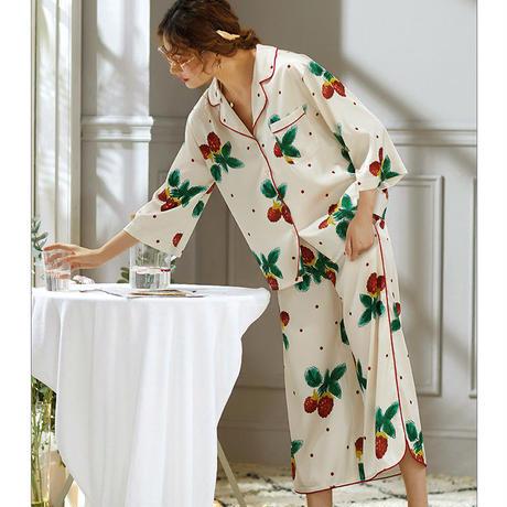 快適 肌に優しい 長袖 シルクパジャマ