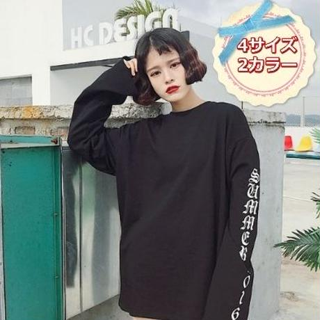 ロングTシャツ 黒 オルチャン系 韓国ファッション ユニセックス