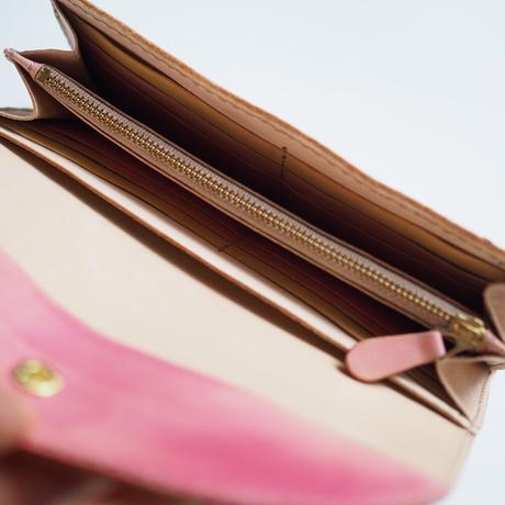革の長財布【ピンク】Pink 001