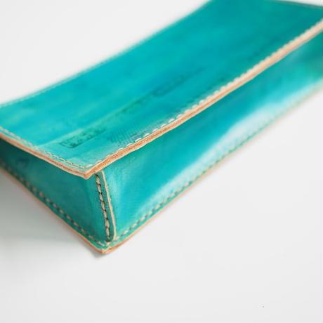 牛ヌメ革のしっかりポーチ  Blue 001