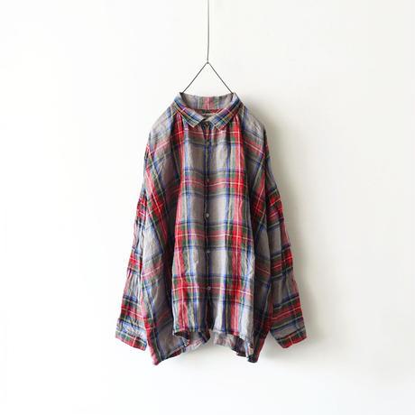 ichiAntiquités 500312 LinenTartan Shirt / GRAY