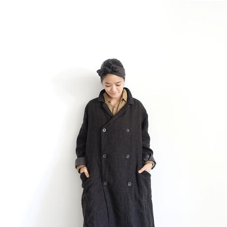 ichiAntiquités 100315 Linen Wool Double Coat / BLACK