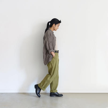 ichiAntiquités 500632 Cotton Herringbone Color Work Pants / OLIVE