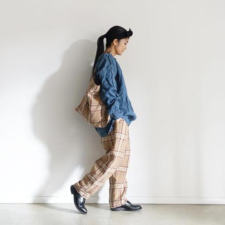 【ONLINE LIMITED】ichiAntiquités 600645 Linen Tartan Pants + BAG / C : BEIGE