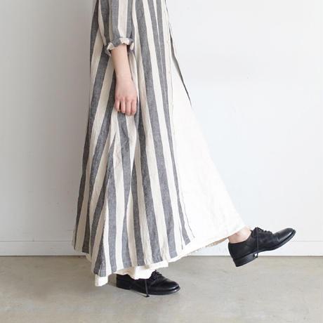 ichi 201122 Cotton Linen Stripe Shirt One Piece / B : BIG STRIPE