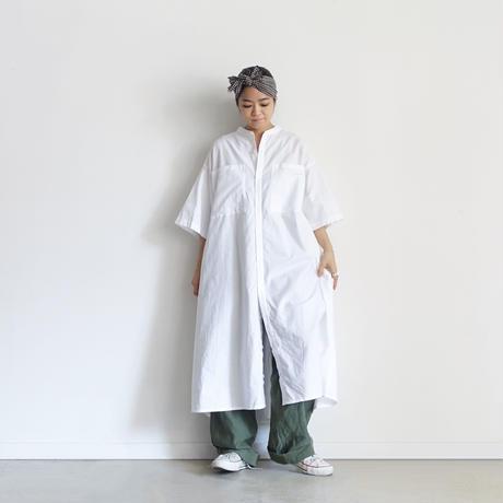 【ONLINE LIMITED】ichi 210563 Big Pocket Band collar Shirt Dress / 2 COLORS