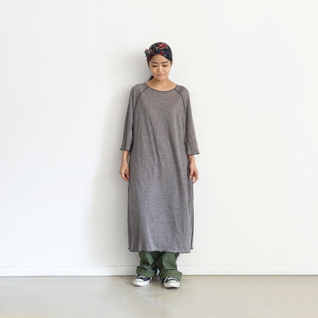 ONLINE LIMITED ichiAntiquités 600672 Linen Border Raglan Dress / NAVY × NATURAL