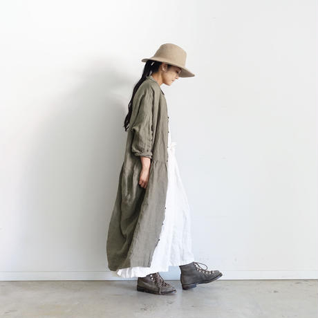 ichiAntiquités 100326 Color Linen Dress / OLIVE