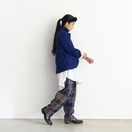 【ONLINE LIMITED】ichiAntiquités 600645 Linen Tartan Pants + BAG / B : NAVY