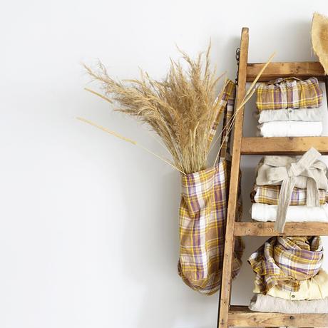 ichiAntiquités 600919 Linen Farmers Tartan Bag / B :  BEIGE