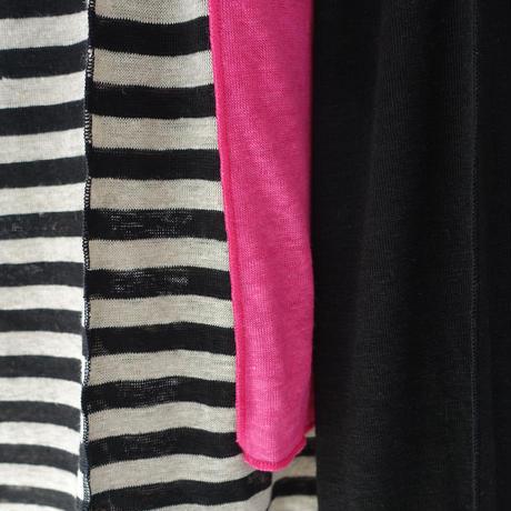 【ONLINE LIMITED】ichiAntiquités 600955 Linen Border Raglan Dress / A : NATURAL × BLACK