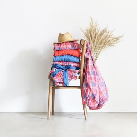 ichiAntiquités 600916 Linen Farmers Tartan Shirt Dress / A : RED