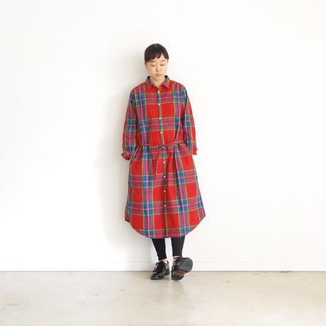 i c h i 181102 Cotton INDIGO Tartan Check Dress / Red