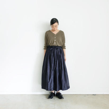 ichi 200303 Satin Cotton Wrap Skirt / 2COLOR