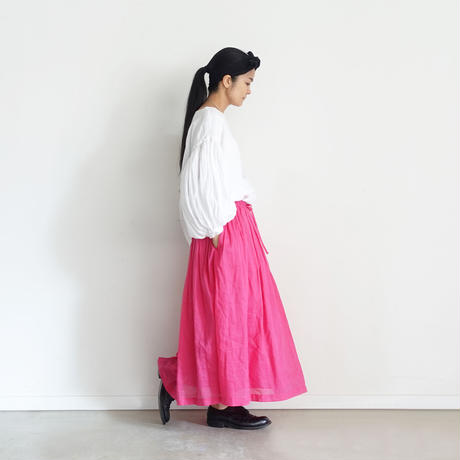 【ONLINE LIMITED】i c h i  201027 Volume Gather Skirt  / E : PINK