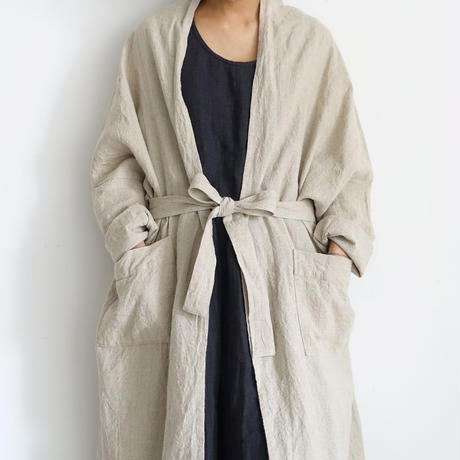 ichiAntiquités 500925 Linen Long Robe / NATURAL