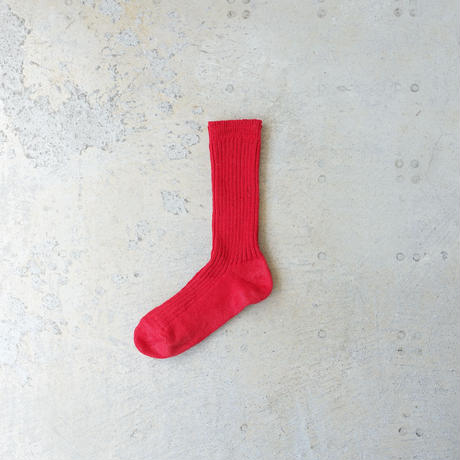 Loiter L019 Linen Color Rib Socks / 3 COLORS : WHITE・YELLOW・RED
