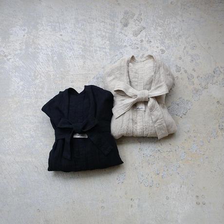 ichiAntiquités 500925 Linen Long Robe / BLACK