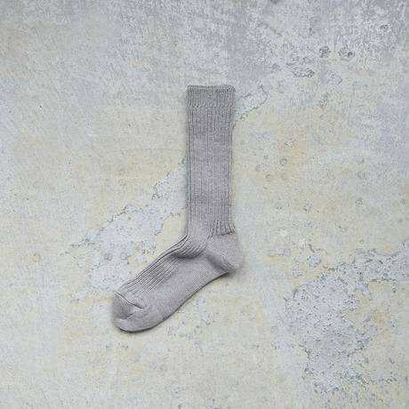 Loiter L019 Linen Color Rib Socks / 4 COLORS : GREEN・BLUE・GRAY・CHOCOLATE