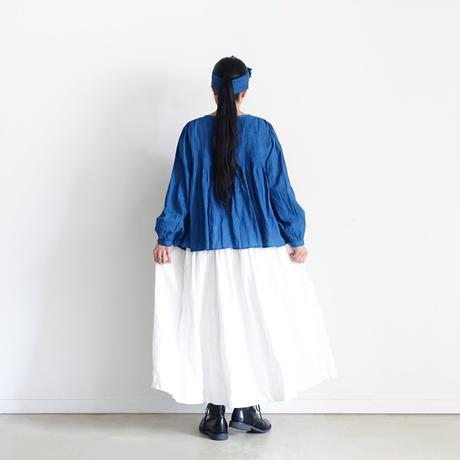 ichiAntiquités  601242  Handdye KHADI Cotton Pintuck Flare Shirt / B : INDIGO