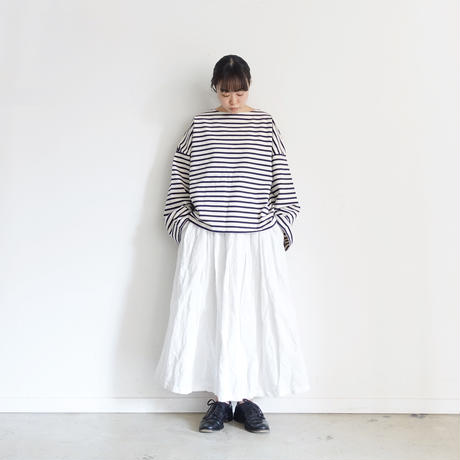 ichi 200530 Loose Sleeve Border Pullover / 2 COLORS