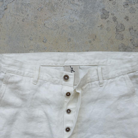 ichiAntiquités 500634  Linen Denim Work Pants / A : WHITE