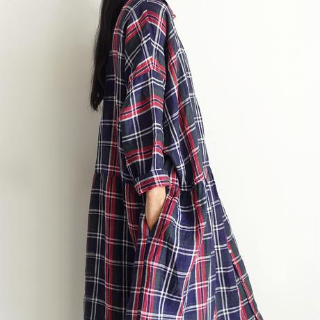 ichiAntiquités 600916 Linen Farmers Tartan Shirt Dress / C : NAVY