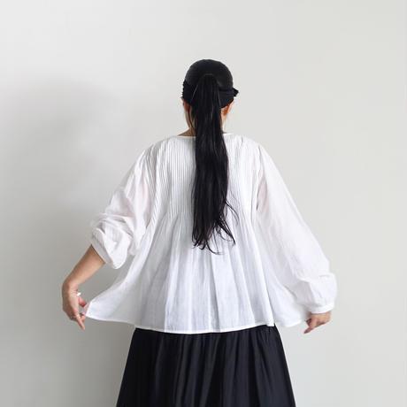 ichiAntiquités  601238  KHADI Cotton Pintuck Flare Shirt / A : WHITE