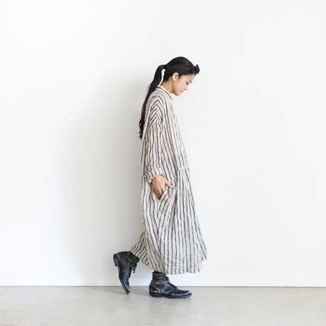 ichiAntiquités × rennes 100651 Linen Wool Stripe Shirt Dress / BLACK