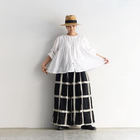 ichiAntiquités 601213 Lattice Linen Check Relax Pants / C : BLACK