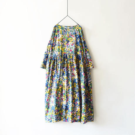 【ONLINE LIMITED】i c h i  201143 Painting Flower Volume Dress / B : BLUE
