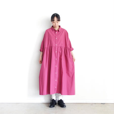 ichi 201104 Cotton Typewriter Shirt One Piece / C : PLUM