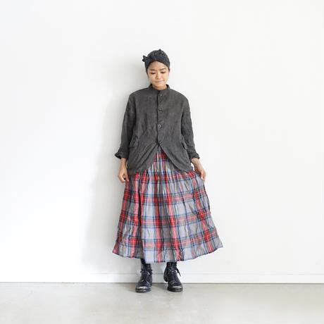 ichiAntiquités 500314 LinenTartan Skirt / GRAY
