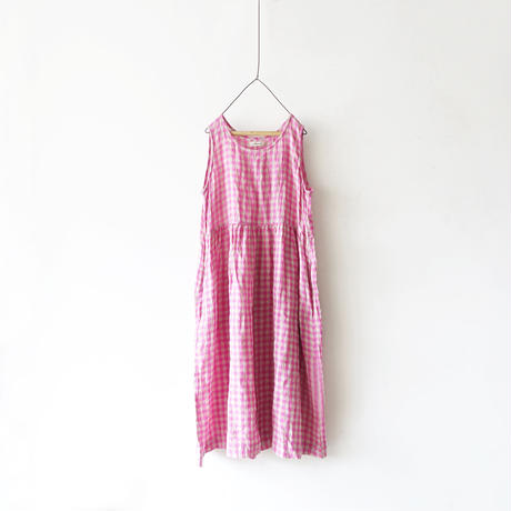 ichiAntiquités 100915  Linen Gingham Dress / 3 COLORS