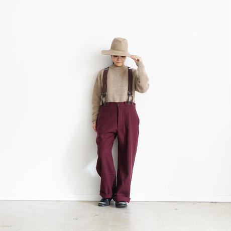 ichiAntiquités 100321 Cotton Wool Pants + Suspenders / BURGUNDY