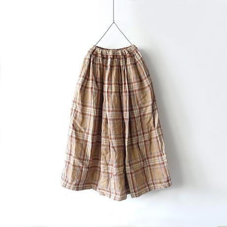 ichiAntiquités 600617 Linen Tartan Skirt / C : BEIGE