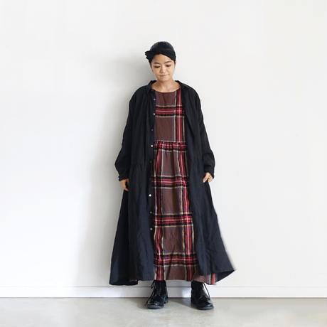 ichiAntiquités  700322 Wool Tartan Volume Dress / B :  BROWN