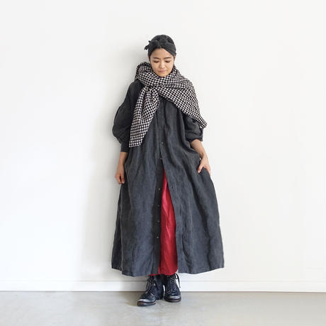ichiAntiquités 600622 Natural dyed Linen Shirt Dress / B : SUMI DARK